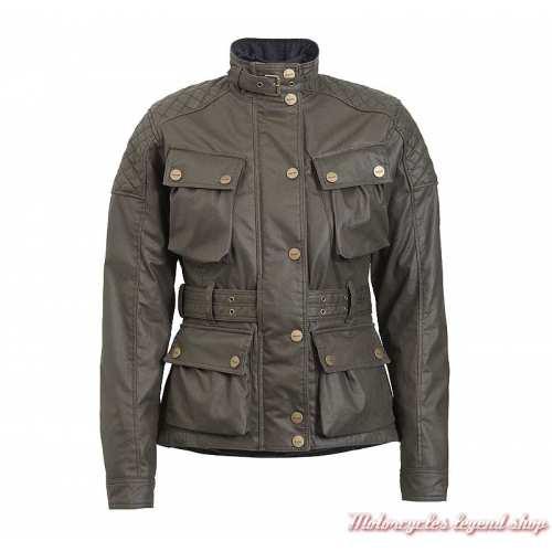 Veste textile Beck Triumph femme, kaki, coton waxé, style Barbour, face, MLTS20124