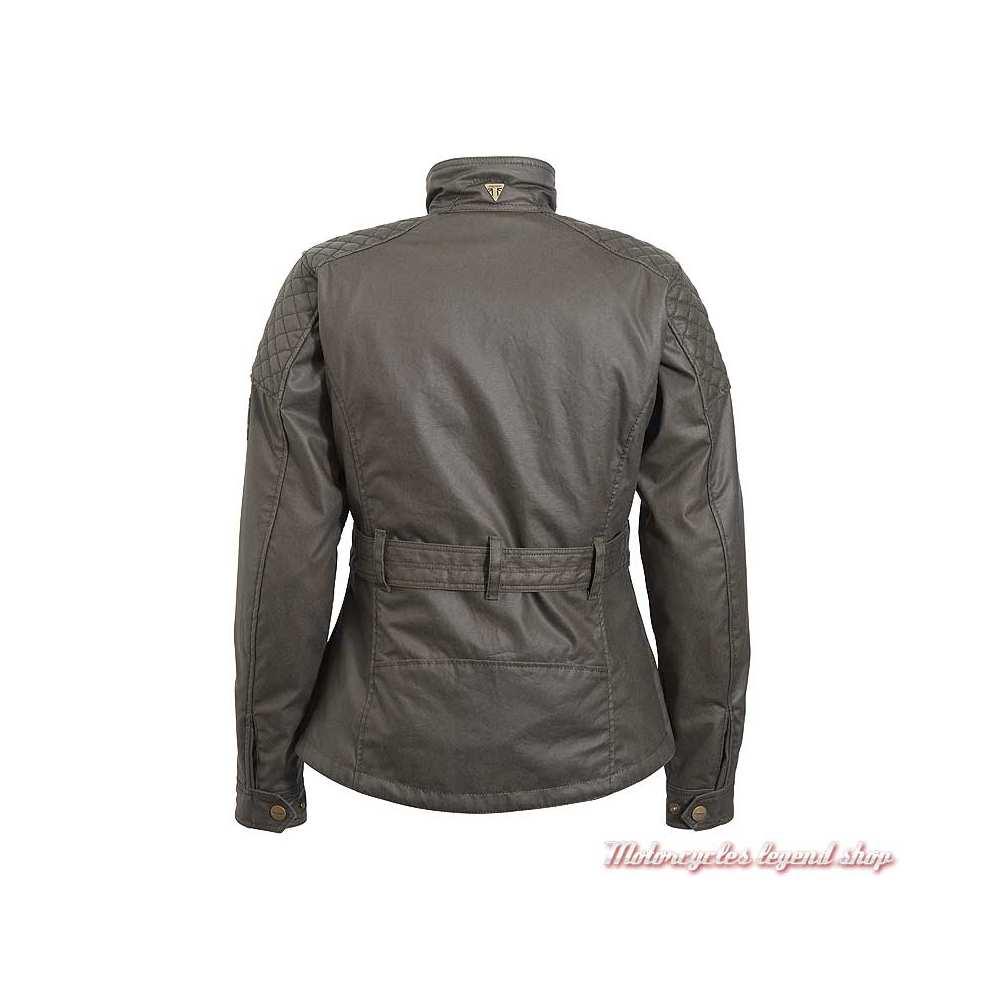 Veste textile Beck Triumph femme, kaki, coton waxé, style Barbour, dos, MLTS20124