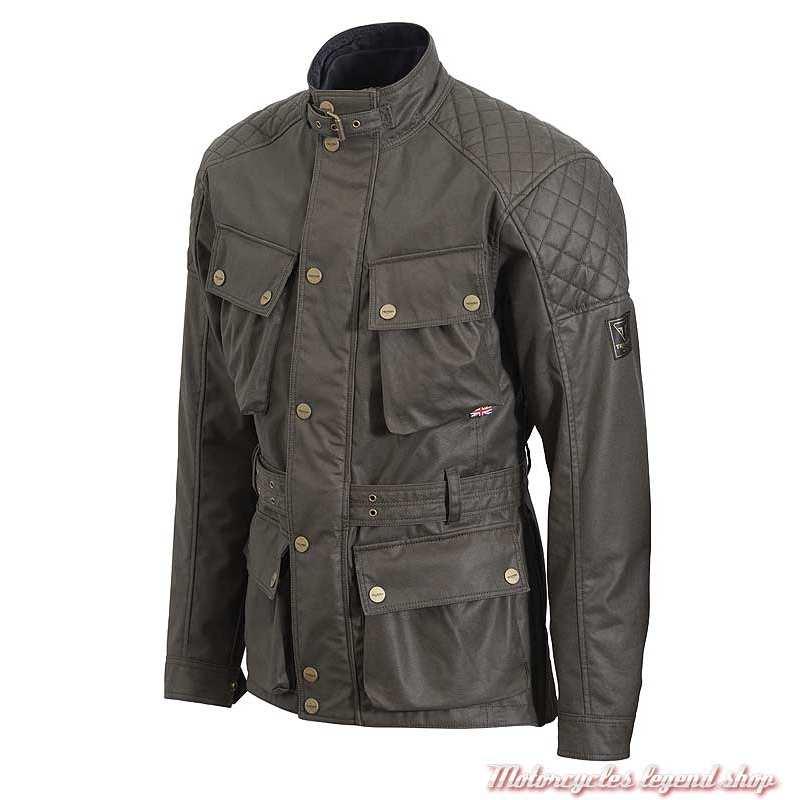 Veste textile Beck 2 Triumph homme, coton waxé kaki, style Barbour, MTHS20112