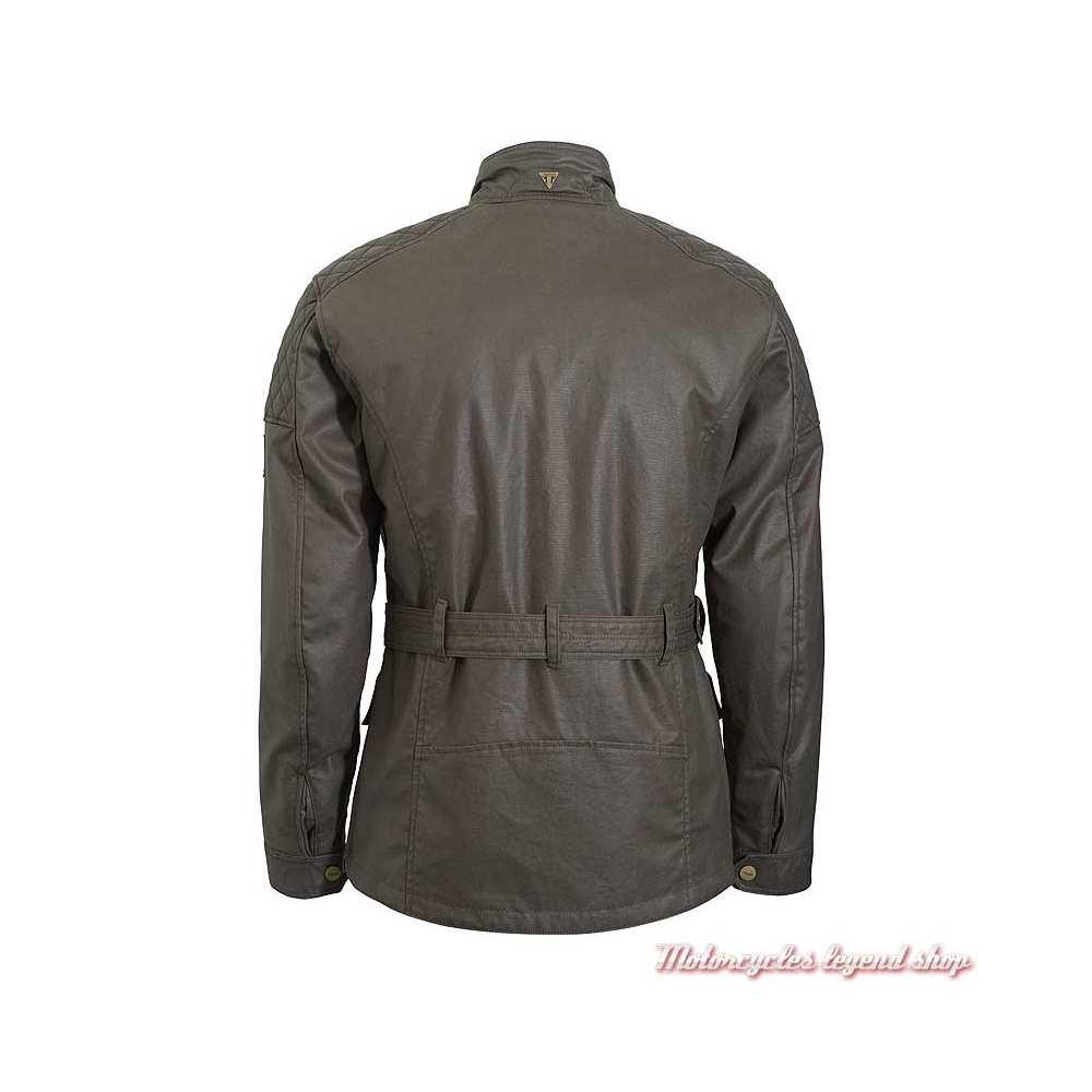 Veste textile Beck 2 Triumph homme, coton waxé kaki, style Barbour, dos, MTHS20112