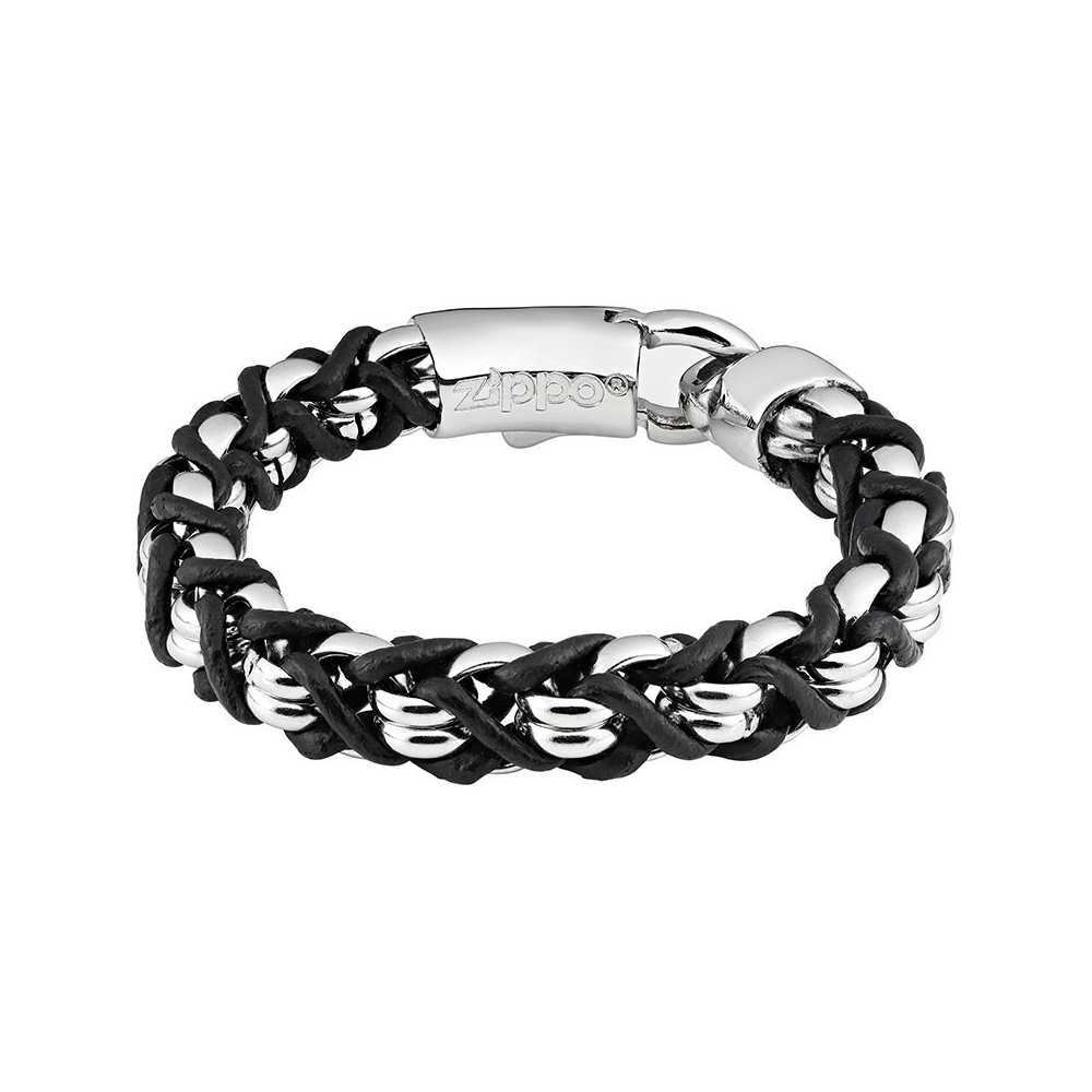 Bracelet cuir noir et acier argenté Zippo, unisexe