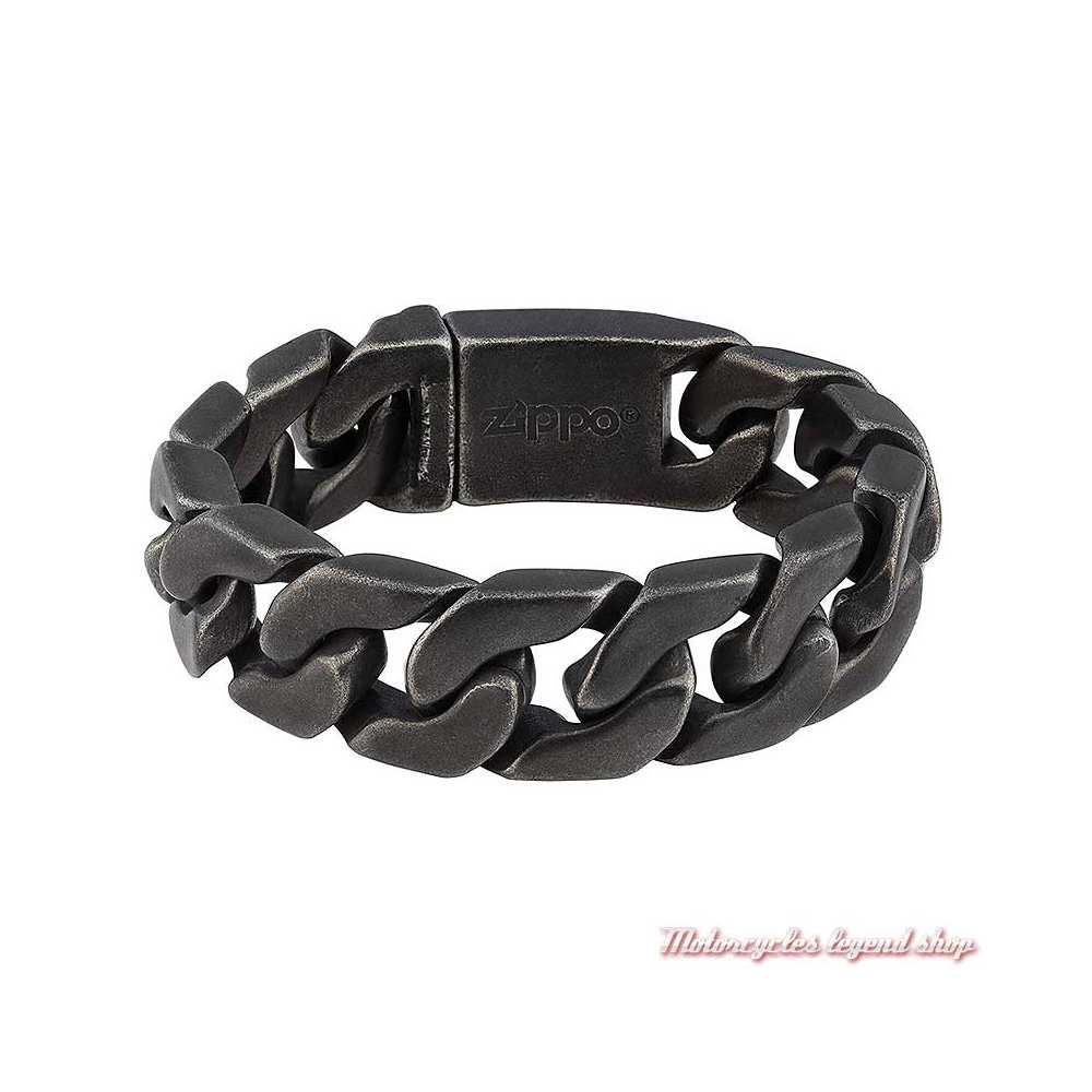 Bracelet gourmette antique noir mat Zippo, unisexe, acier