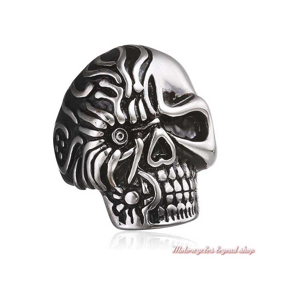 grosse bague Skull Zippo homme acier noir et argent