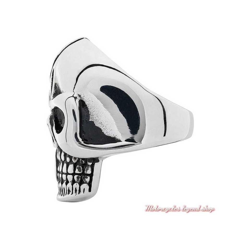 grosse bague Skull Zippo homme acier noir et argent, côté 2