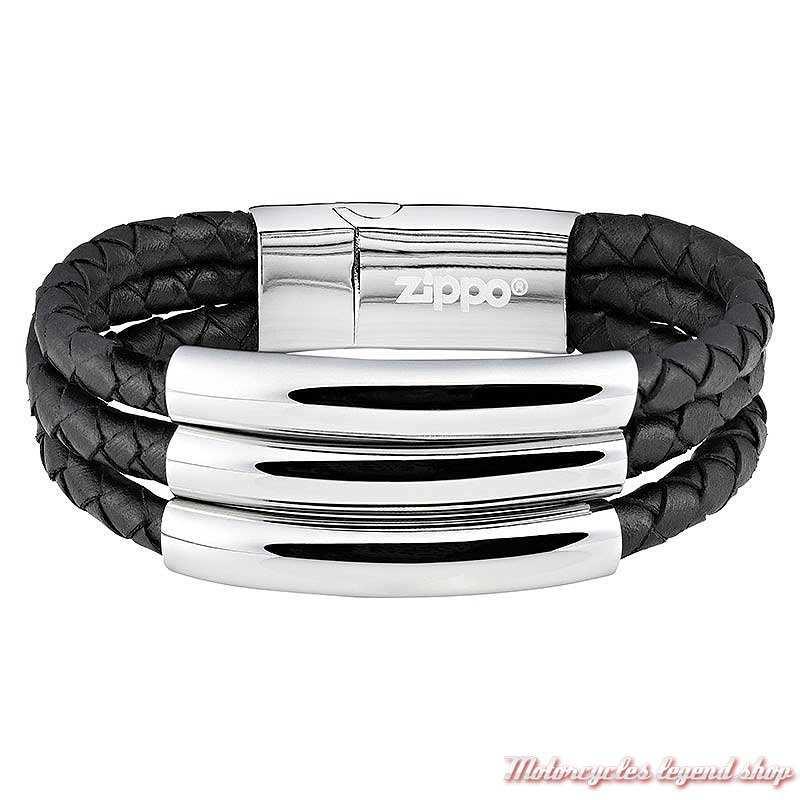 Bracelet triple cuir tressé noir et acier Zippo unisexe