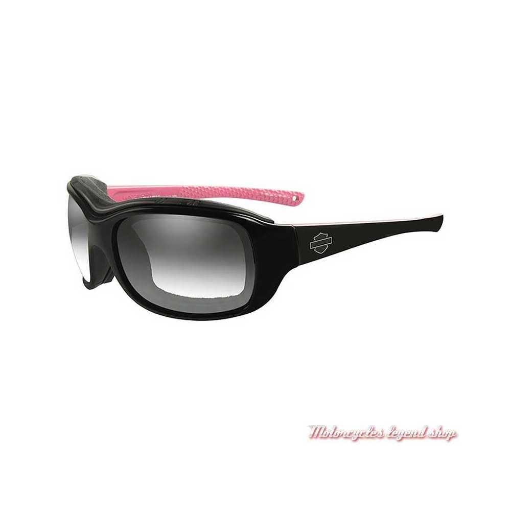 Lunettes jour/nuit Journey Harley-Davidson femme, noir brillant, rose, cavité intérieur amovible, HDJNY05