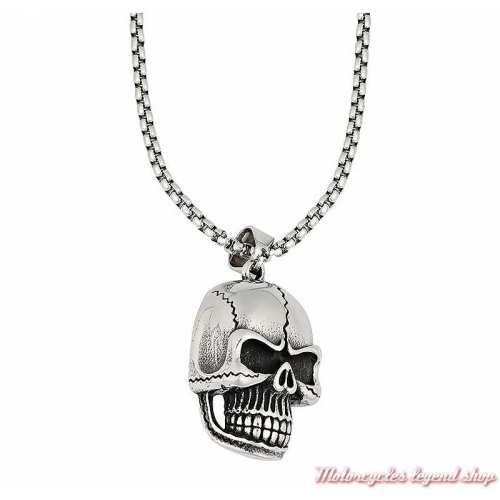 Pendentif Skull Zippo acier argenté