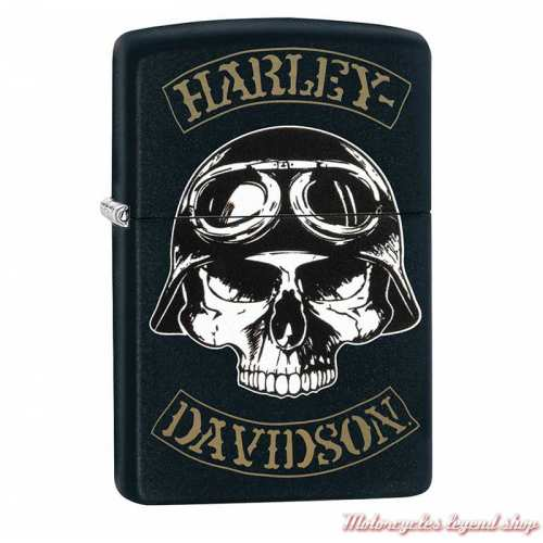 Zippo Skull casqué Harley-Davidson, métal noir mat, 60004325