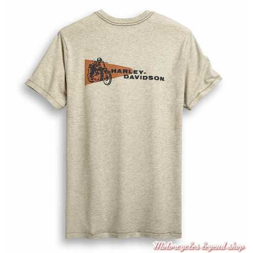 Tee-shirt Racing Pendant Harley-Davidson homme, beige, manches courtes, coton, dos, 96441-20VM