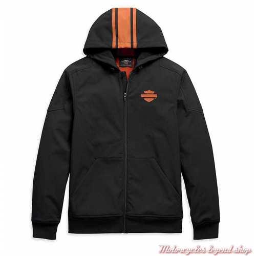 Veste Soft Shell Vertical Stripe homme Harley-Davidson, à capuche, noir, orange, polyester, spandex, 98408-20VM