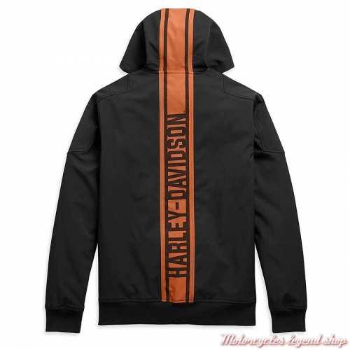 Veste Soft Shell Vertical Stripe homme Harley-Davidson, à capuche, noir, orange, polyester, spandex, dos, 98408-20VM