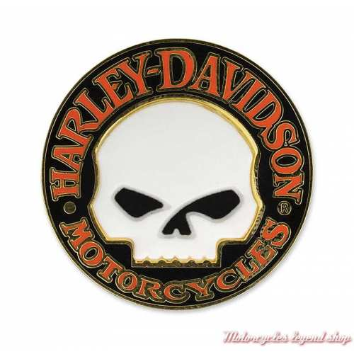 Pin's Willie G. Harley-Davidson, métal doré, noir, blanc, orange, P1199262