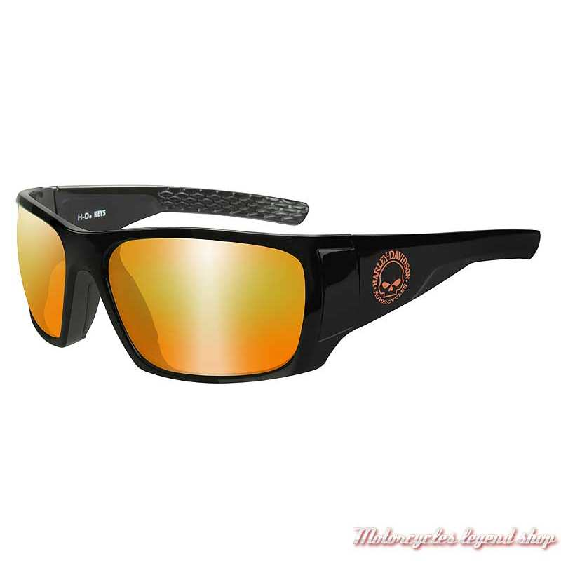 Lunettes solaire Keys black mat Harley-Davidson, orange miroir, HAKYS14
