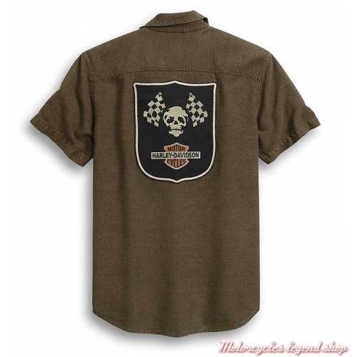 Chemisette Skull Flags Harley-Davidson homme, marron, coton, manches courtes, brodée, dos, 96284-20VM