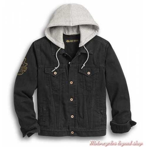Veste en jean Skull Flags Harley-Davidson homme, noir délavé, brodée, capuche amovible, 97427-20VM