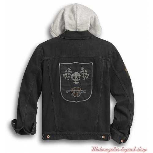 Veste en jean Skull Flags Harley-Davidson homme, noir délavé, brodée, capuche amovible, dos, 97427-20VM