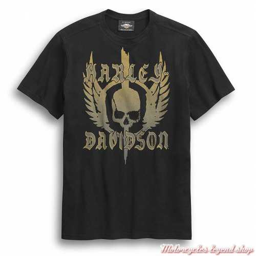 Tee-shirt Skull Wing Harley-Davidson homme, noir, manches courtes, coton, 96307-20VM