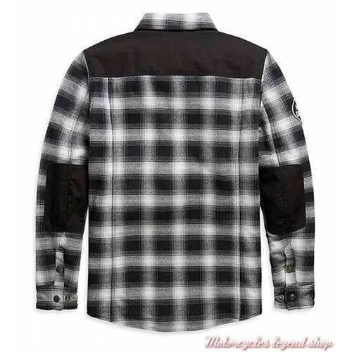 Chemise Arterial Harley-Davidson homme, noir, blanc, résistant abrasion, homologué CE, sans protection, dos, 98147-20EM