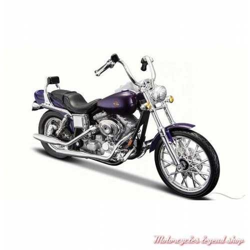Miniature FXDWG Dyna Wide Glide 2001 bleu Harley-Davidson, Maisto, echelle 1/18