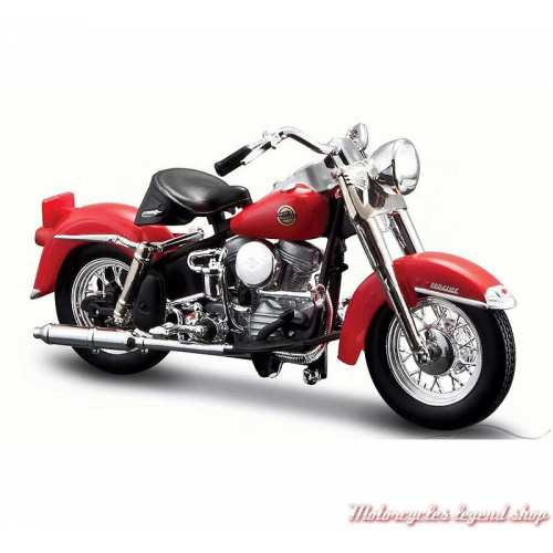 Miniature FLH Duo Glide 1958 Candy Apple Red Harley-Davidson, Maisto, echelle 1/18