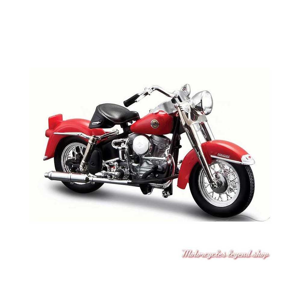 Miniature FLH Duo Glide 1958 Candy Apple Red Harley-Davidson, Maisto, echelle 1/18