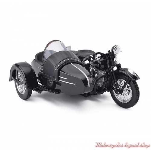 Miniature FL Panhead Side Car 1948 Harley-Davidson, noir, Maisto, echelle 1/18