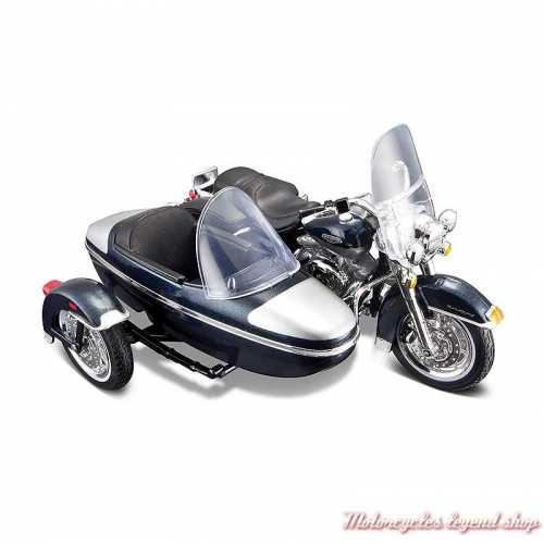 Miniature Road King Classic 2001 Sidecar Harley-Davidson, bleu, blanc, Maisto, echelle 1/18