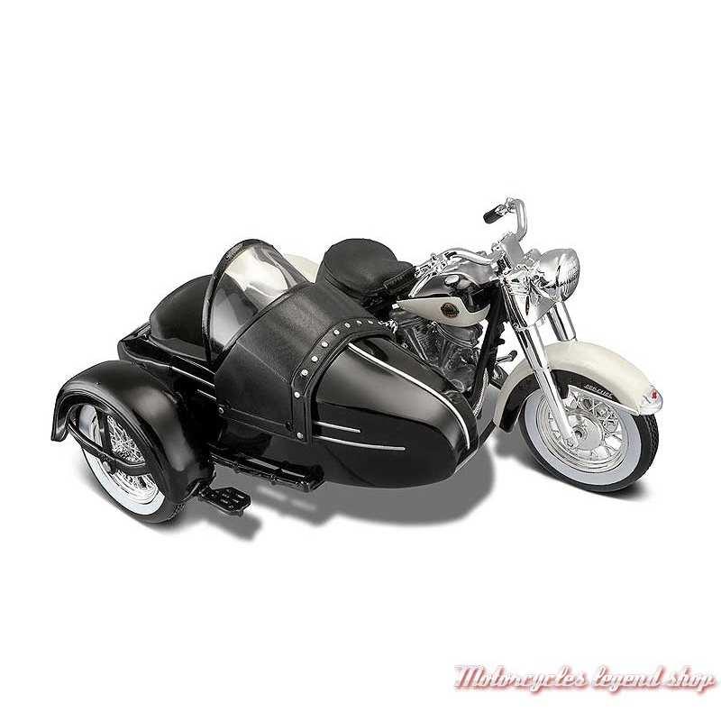 Miniature FLH Duo Glide 1958 Side Car Harley-Davidson, noir, Maisto, echelle 1/18