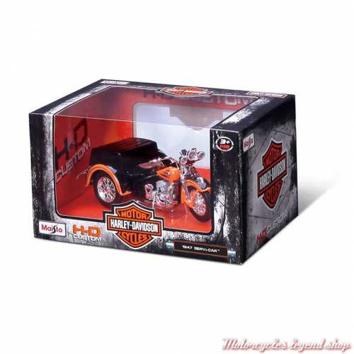 Miniature Servi-Car 1947 Harley-Davidson orange, Maisto, echelle 1/18, boite