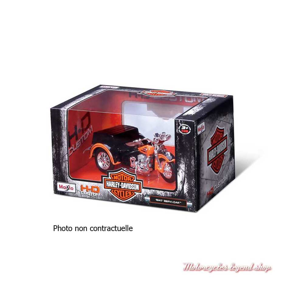 Miniature FL Panhead Side Car 1948 Harley-Davidson, noir, Maisto, echelle 1/18, boite