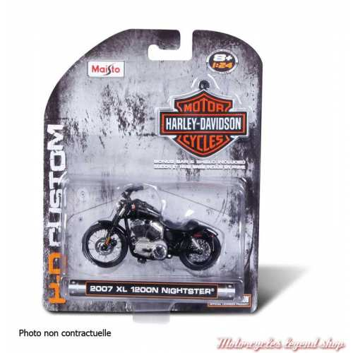 Miniature FLH Duo Glide 1958 Harley-Davidson, rouge, blanc, echelle 1/24, boite