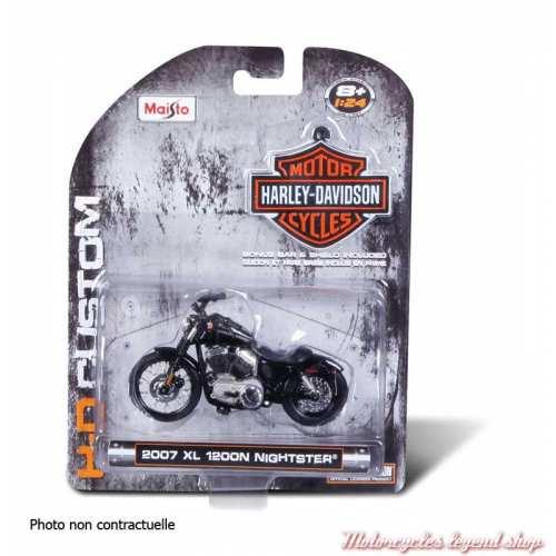 Miniature FLH Duo Glide 1962 Harley-Davidson, noir, echelle 1/24, boite