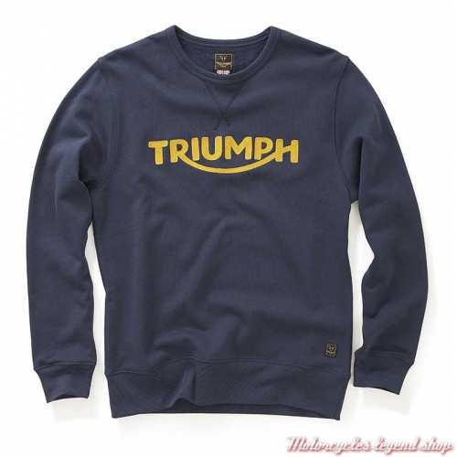 Sweatshirt Blackawton black iris homme Triumph, col rond, navy, coton, MSWS20001