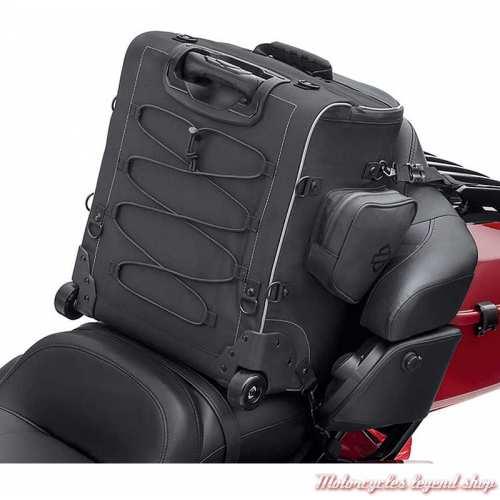 Sac à roulette pour selle arrière Premium Onyx Harley-Davidson, polyester noir, dos, 93300126