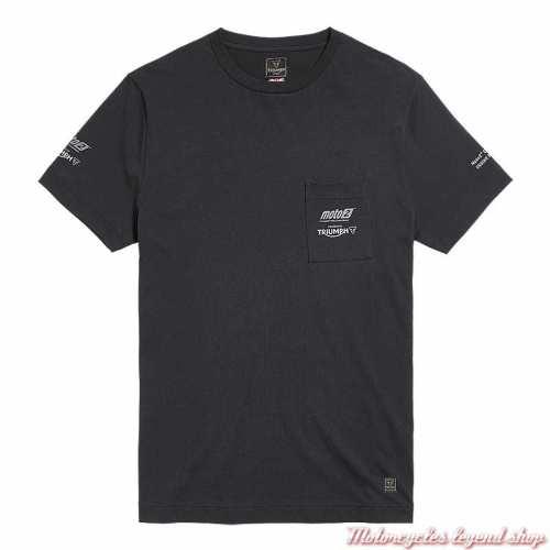 Tee-shirt Moto2 2020 Triumph homme, noir, manches courtes, poche poitrine, coton, MTSS20501