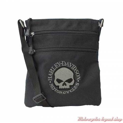 Sac pochette skull Willie G Harley-Davidson, tissu noir, XMP1521-GRYBLK