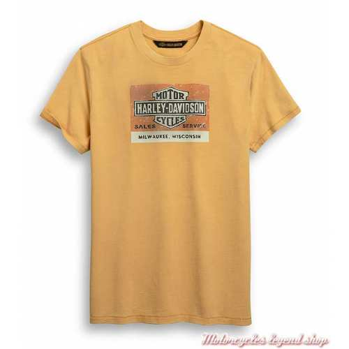 Tee-shirt Vintage Bar & Shield Harley-Davidson homme, orange, coton, manches courtes, 96428-20VM
