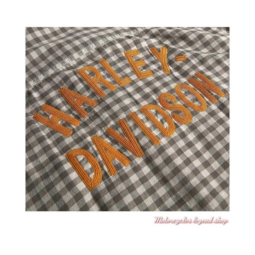 Chemisette à carreaux Harley-Davidson homme, gris, écru, brodée, coton, détail, 96424-20VM