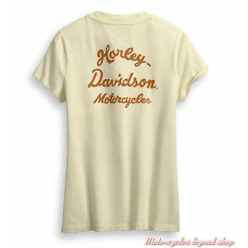 Tee-shirt Vintage Harley-Davidson femme, écru, manches courtes, col V, coton, dos, 96436-20VW