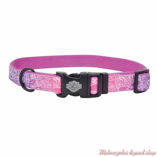 Collier pour chien Purple Skull Harley-Davidson, nylon, rose, H6472-H-PSL18
