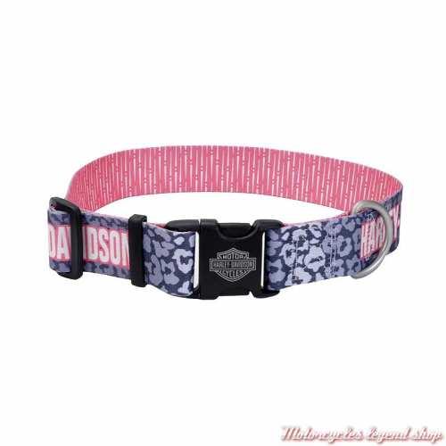 Collier pour chien Leopard et rose Harley-Davidson, nylon, H3991-H-LPS20