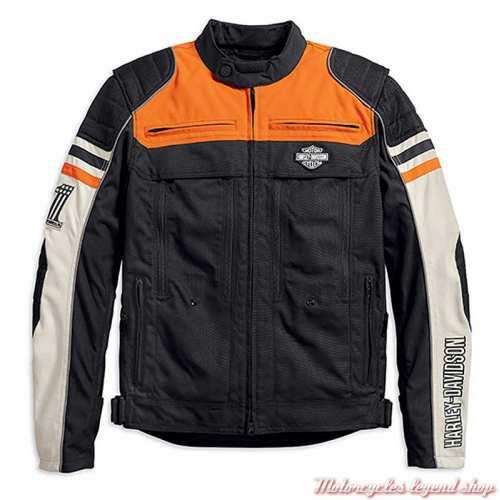 Blouson textile Metonga Switchback Harley-Davidson homme, noir, orange, écru, homologué CE, 98393-19EM