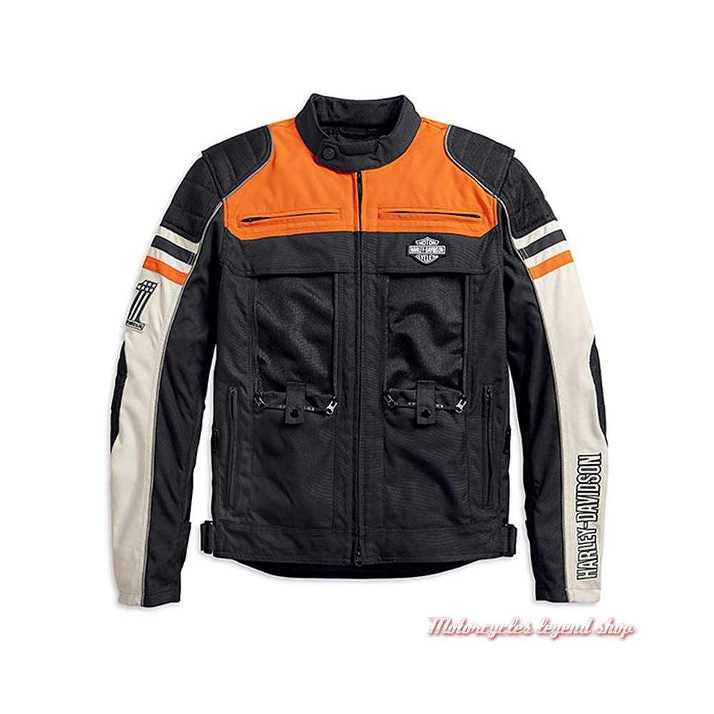 Blouson textile Metonga Switchback Harley-Davidson homme, noir, orange, écru, homologué CE, panneaux ouvert, 98393-19EM