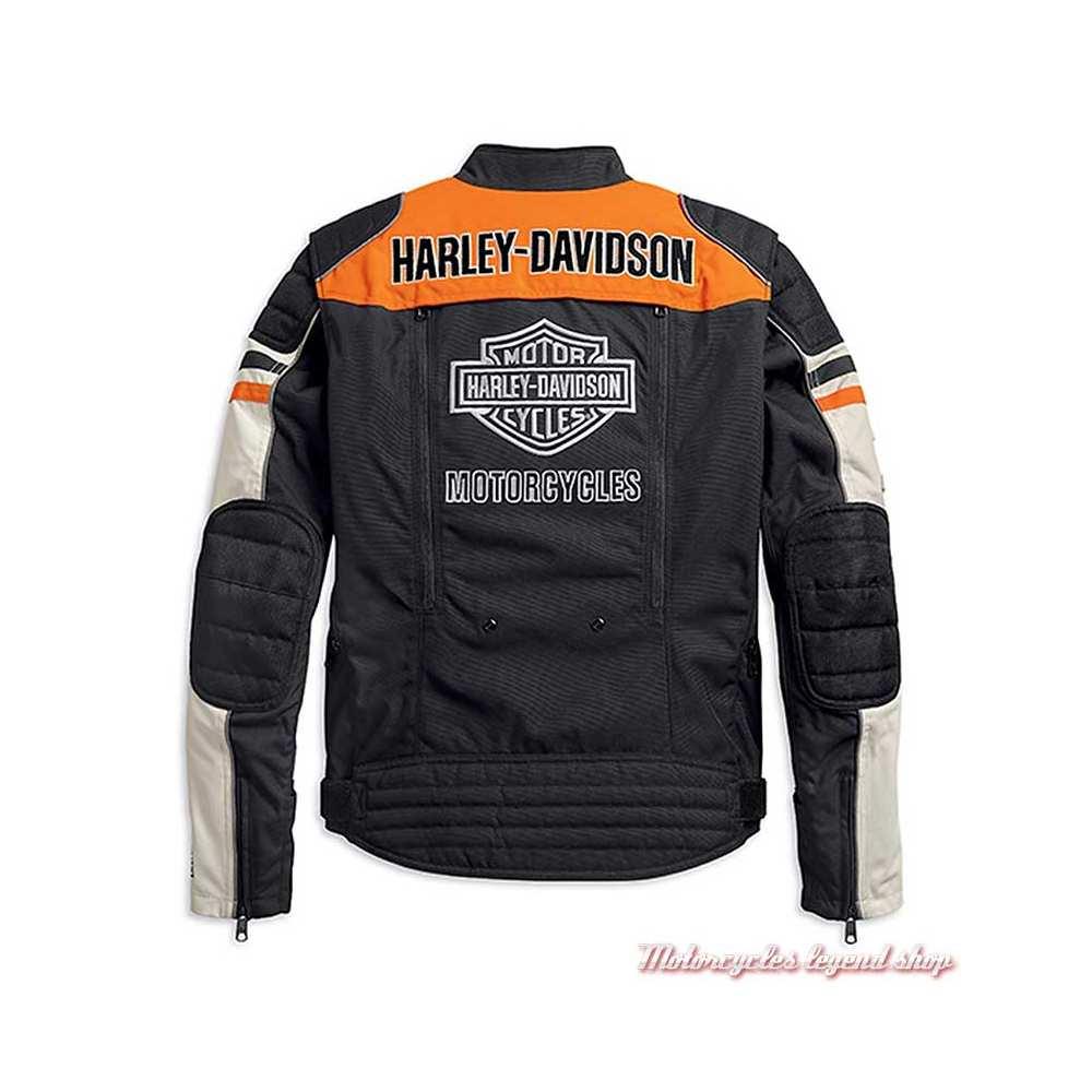 Blouson textile Metonga Switchback Harley-Davidson homme, noir, orange, écru, homologué CE, dos, 98393-19EM
