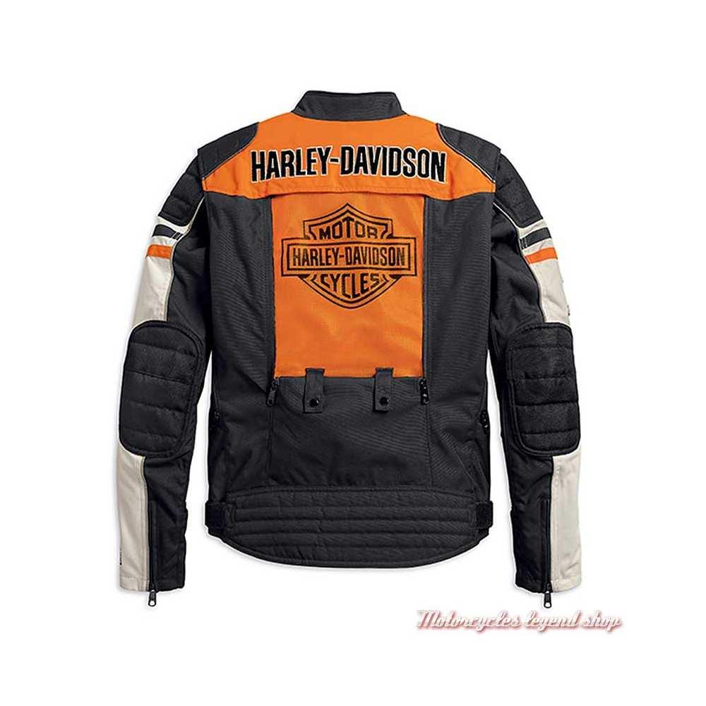 Blouson textile Metonga Switchback Harley-Davidson homme, noir, orange, écru, homologué CE, dos, panneau ouvert, 98393-19EM