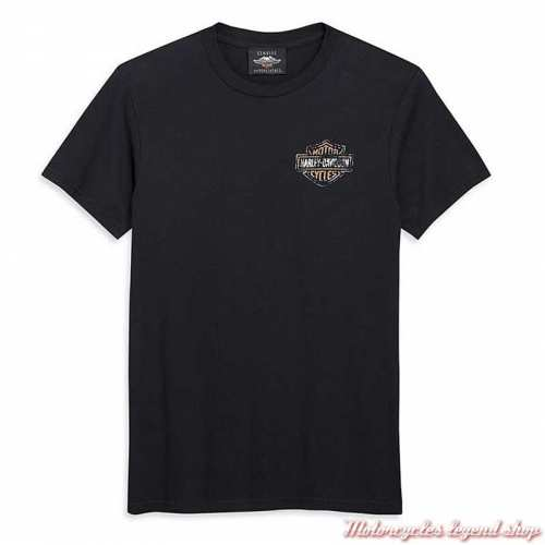 Tee-shirt Patina Eagle Bar & Shield Harley-Davidson homme, noir, manches courtes, coton, 96466-20VM