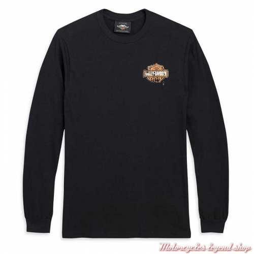 Tee-shirt Patina Bar & Shield Harley-Davidson homme, noir, manches longues, coton, 96575-20VX