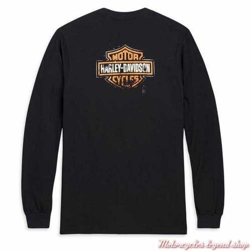 Tee-shirt Patina Bar & Shield Harley-Davidson homme, noir, manches longues, coton, dos, 96575-20VX