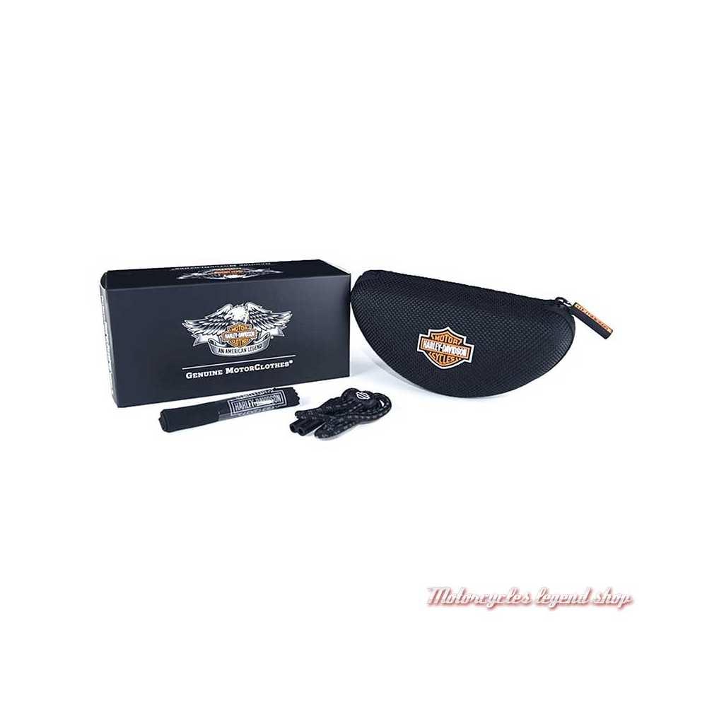 Lunettes solaire Journey Harley-Davidson, noir strié, cavité intérieur amovible, boitier, HDJNY02