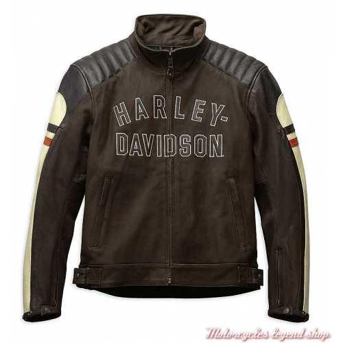 Blouson cuir Rayland Harley-Davidson homme, marron, vintage, CE, 98042-19EM